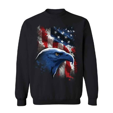 American Flag Eagle USA Unisex Crewneck 4th Of July Sweater Black Small