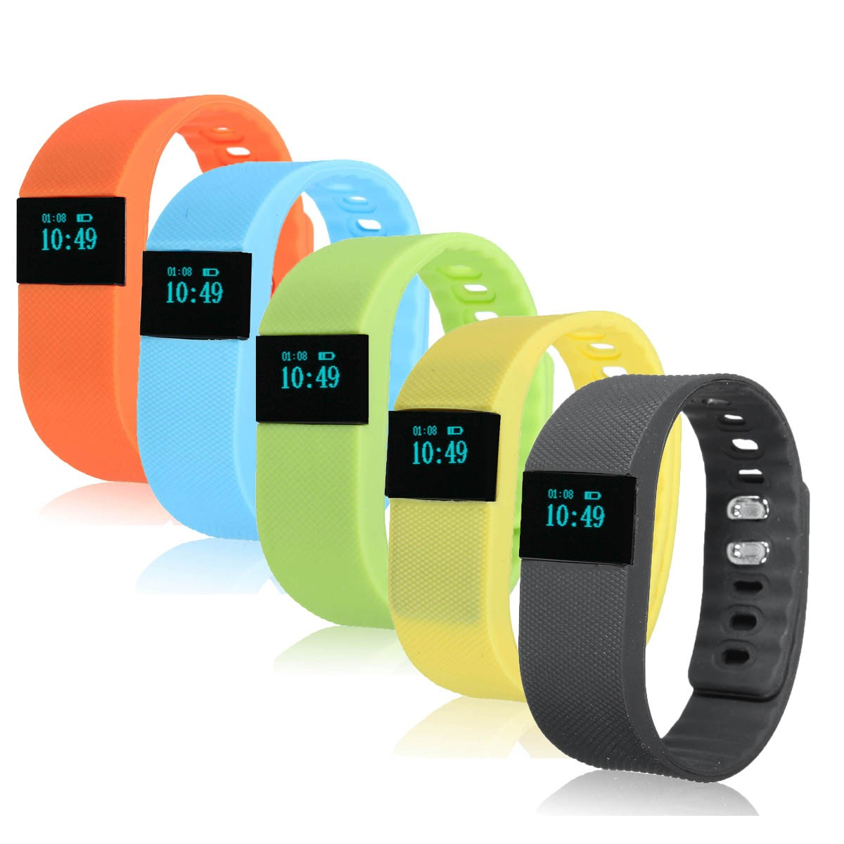 TW64 USB Bluetooth Pedometer Smart Wrist Watch Bracelet Waterproof for Android IOS, Blue/ Yellow/ Orange/ Black/ Green