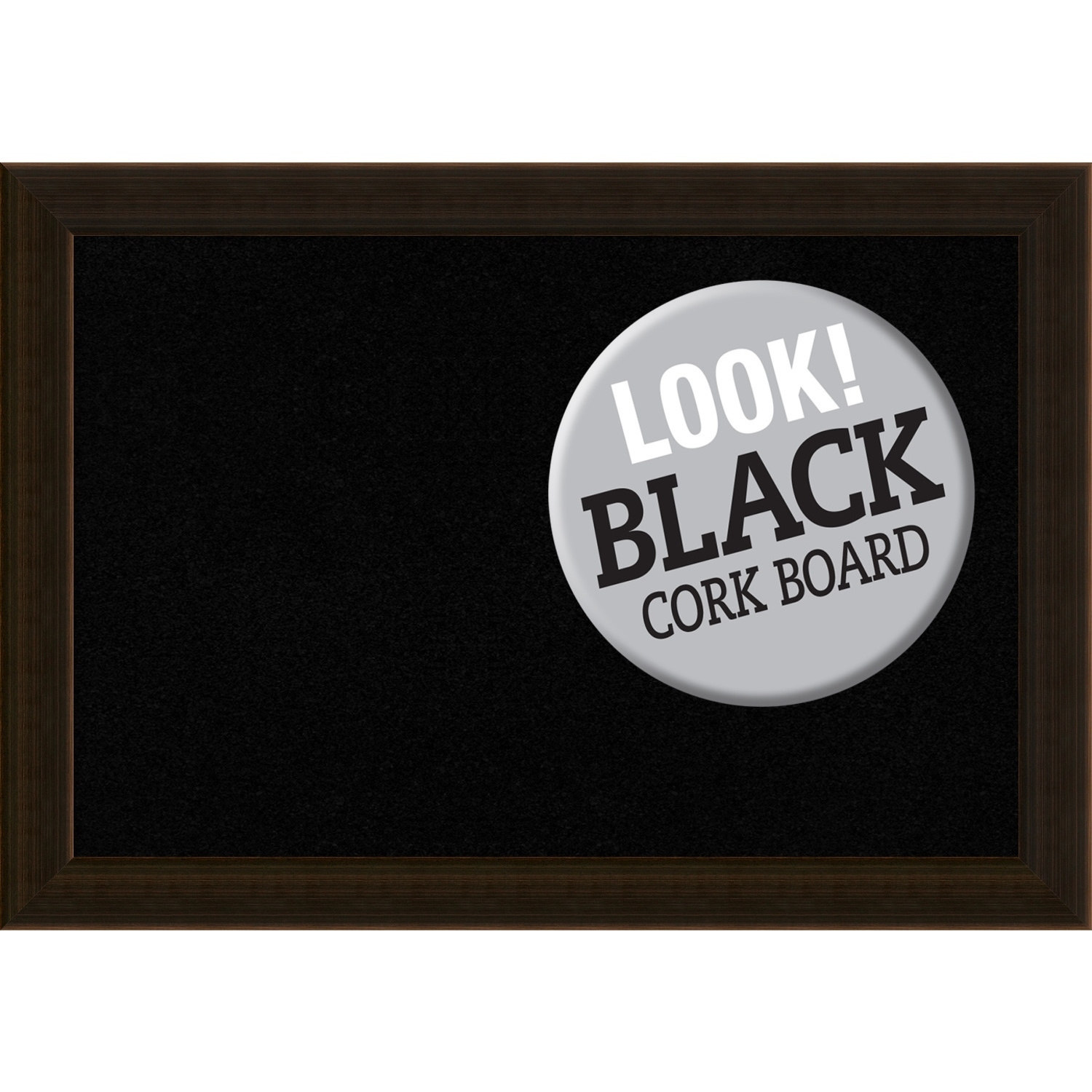 Amanti Art Framed Black Cork Board, Espresso Brown