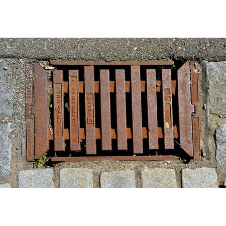 LAMINATED POSTER Stainless Grid Metal Cover Road Graphic Iron Lid Poster Print 24 x 36