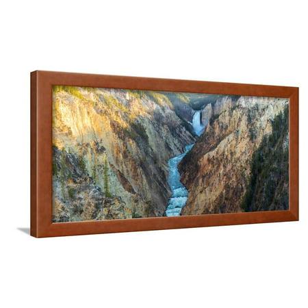 High angle view of a waterfall, Lower Yellowstone Falls, Grand Canyon, Yellowstone National Park... Framed Print Wall Art