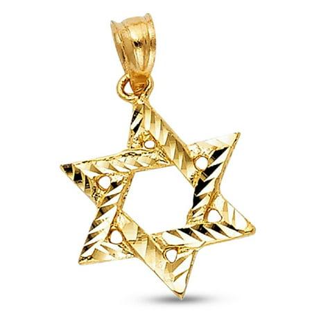 Star Of David Pendant Solid 14k Yellow Gold Jewish Charm Diamond Cut Religious Polished 15 x 14 mm ()