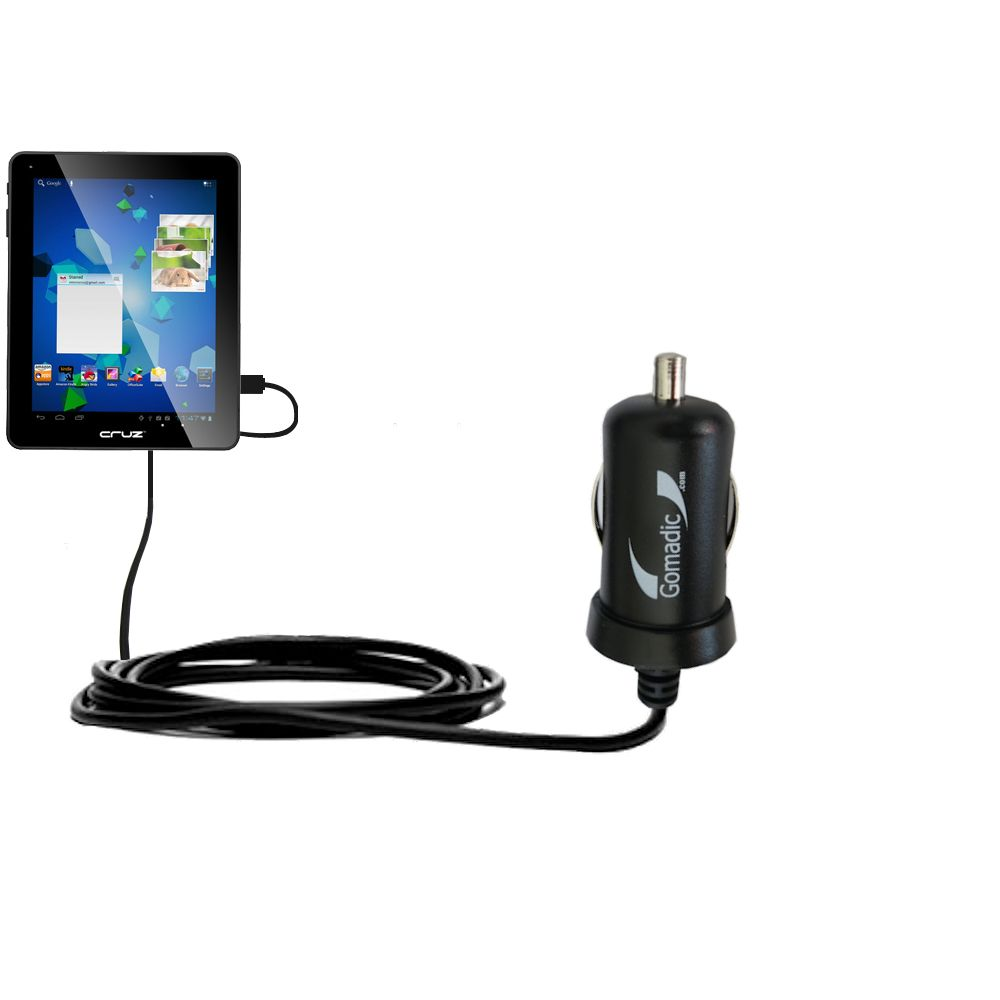 Gomadic Intelligent Compact Car / Auto DC Charger suitable for the Velocity Micro Cruz T510 - 2A / 10W power at half the size. Uses Gomadic TipExchang