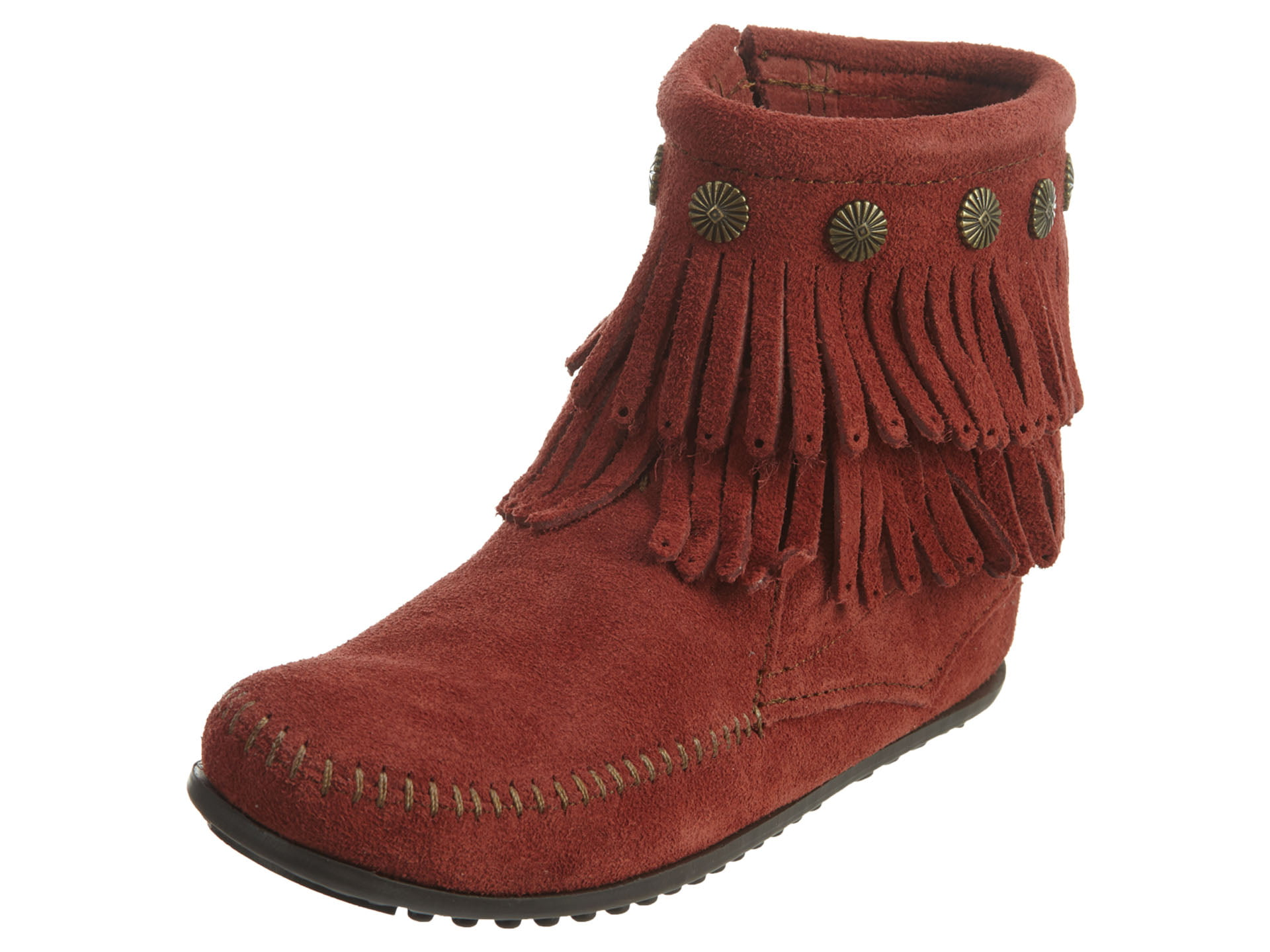 Minnetonka Double Fringe Side Zip Womens Style : 696f by Minnetonka