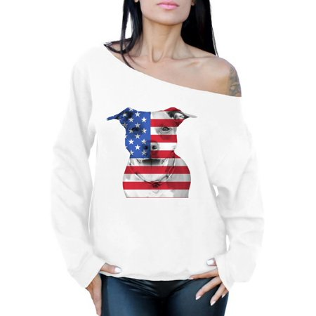 fe655fd14f8f0 Awkward Styles - Awkward Styles Women s USA Flag Pitbull Graphic Off  Shoulder Tops Oversized Sweatshirt American Flag Pitbull Patriotic 4th of  July ...