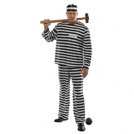Amscan Convict Prisoner Jail Prison Halloween Costume for Men - Plus Size