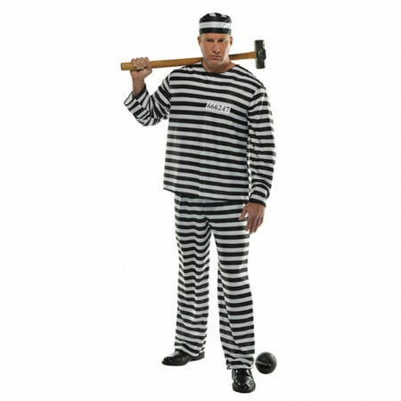 Amscan Convict Prisoner Jail Prison Halloween Costume for Men - Plus Size - Halloween Costumes Prisoner