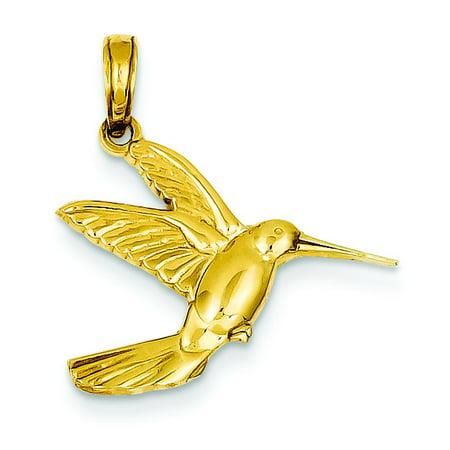 Graceful Hummingbird Charm (14K Gold Flying Hummingbird Charm Bird Jewelry)