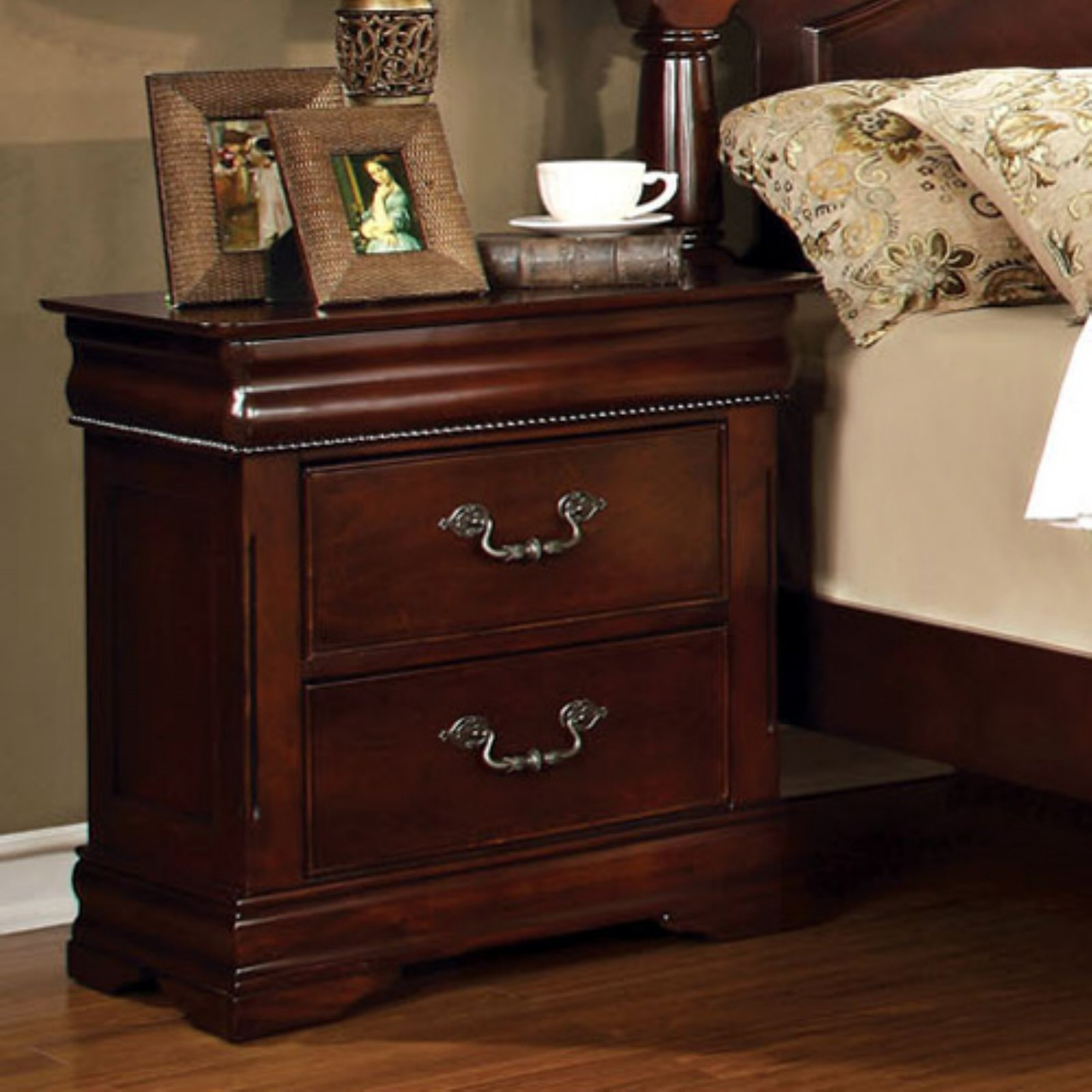Furniture of America Grand Central 2 Drawer Nightstand - Cherry