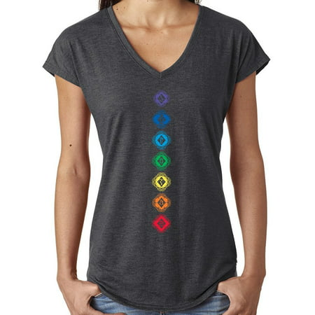 Ladies Diamond Chakras V-neck Yoga Shirt - Dakr Heather Grey, (Diamond Skirt)