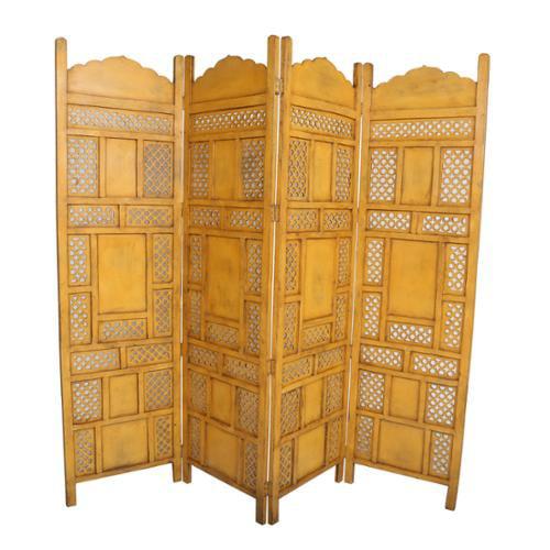 Porter International Designs Wanderloot Leela Yellow 4-panel Hand-painted Wooden Screen (India)