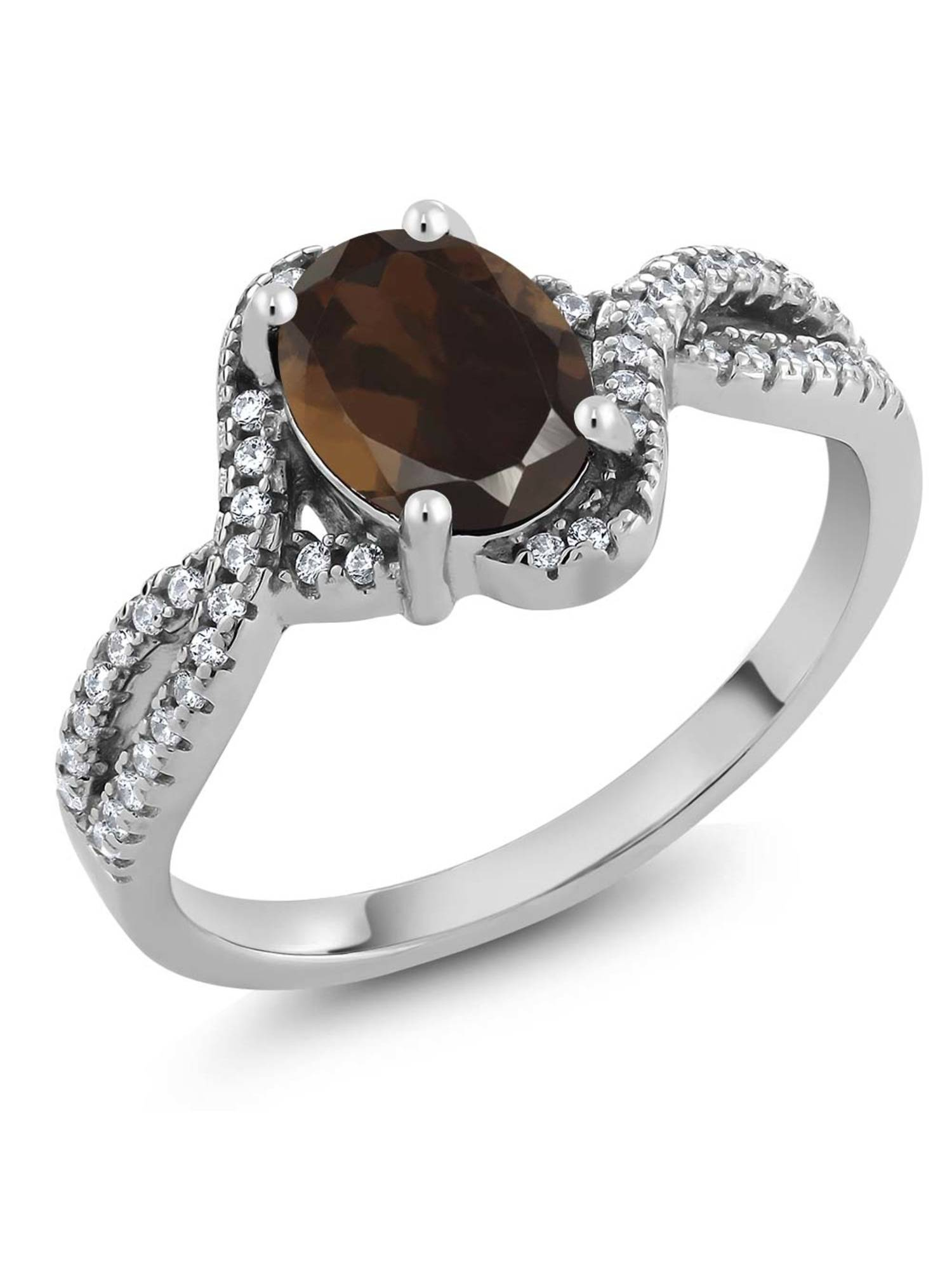 1.78 Ct Oval Brown Smoky Quartz 925 Sterling Silver Ring