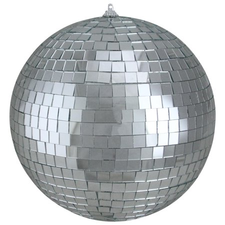 Shiny Silver Splendor Mirrored Glass Disco Ball Christmas Ornament 8