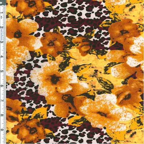 Orange/Burgundy Jungle Floral Slinky, Fabric By the Yard