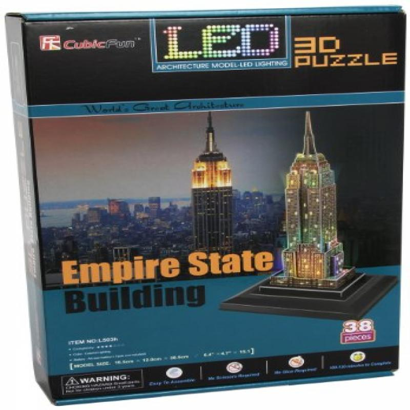 Empire State Building 3D Puzzle with LED, 38 Pieces