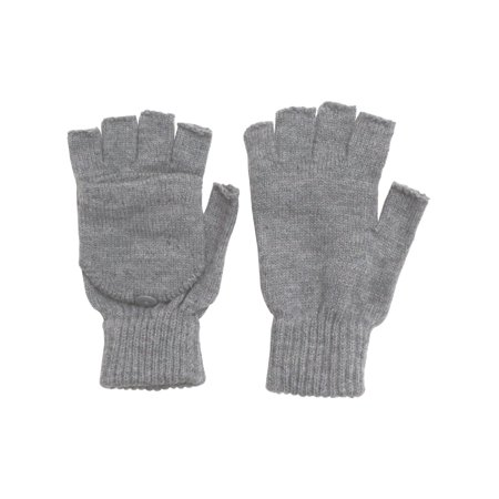Winter Fingerless Gloves with Flap Cover Mitten Gloves, 56_Grey