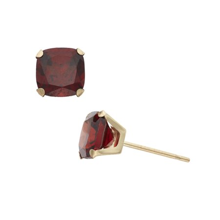 2 Carat T.G.W. Garnet 10kt Yellow Gold 6mm x 6mm Cushion-Cut Post (6 Mm Garnet Earring)