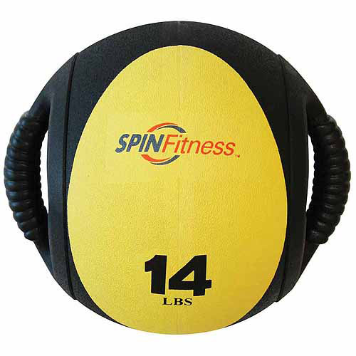 SPIN Fitness Commercial-Grade Dual Grip Medicine Ball, 14 lbs