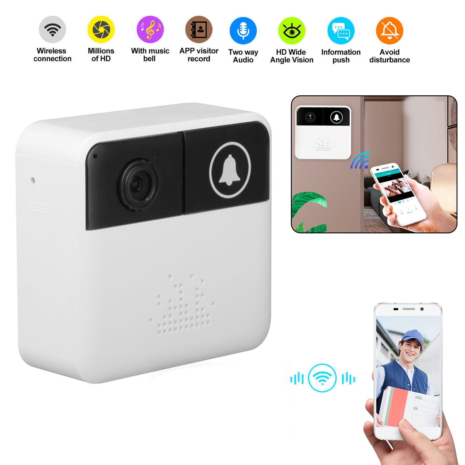 EEEKit Smart Wifi Wireless Doorbell, Professional 720P HD Door Bell Video Camera Ring Motion Detection Night Vision, Real-Time Video, Audio Chat