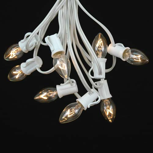 Novelty Lights C7 Christmas Lights Set - Indoor/Outdoor Christmas Light String - Christmas Tree Lights - Hanging Christmas Lights - Outdoor Patio String Lights - White Wire - 25 Foot