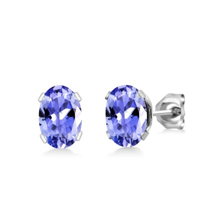 - 1.50 Ct Oval Shape Blue Tanzanite Silver Plated Brass Stud Earrings