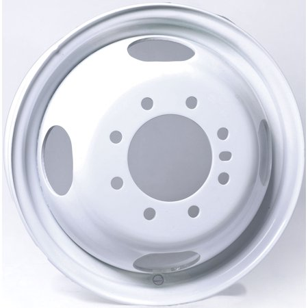 - Trailer Wheel White Rim 16 x 6 Dually Style 8 Lug On 6.5 4.90 in. Center Bore