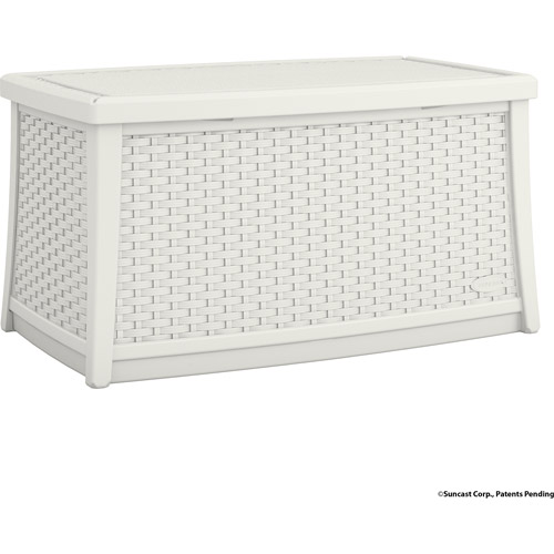 Suncast Elements Resin Patio Storage Coffee Table, White