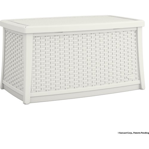 Superb Suncast Elements Resin Patio Storage Coffee Table, White