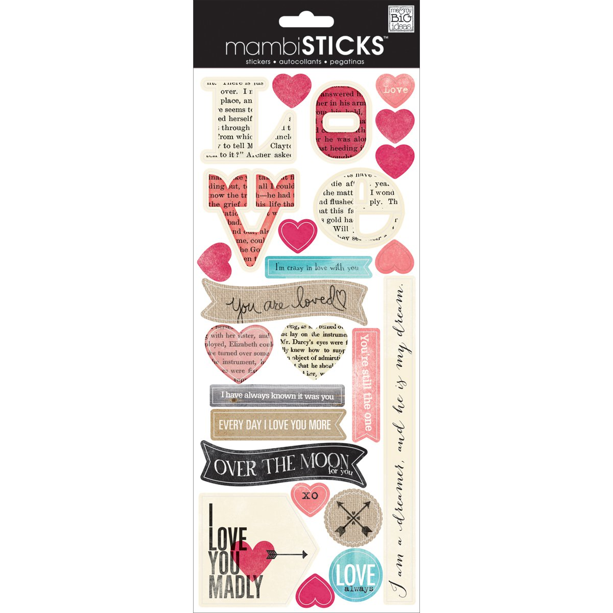 Sayings Stickers-Love Newsprint - image 1 of 1