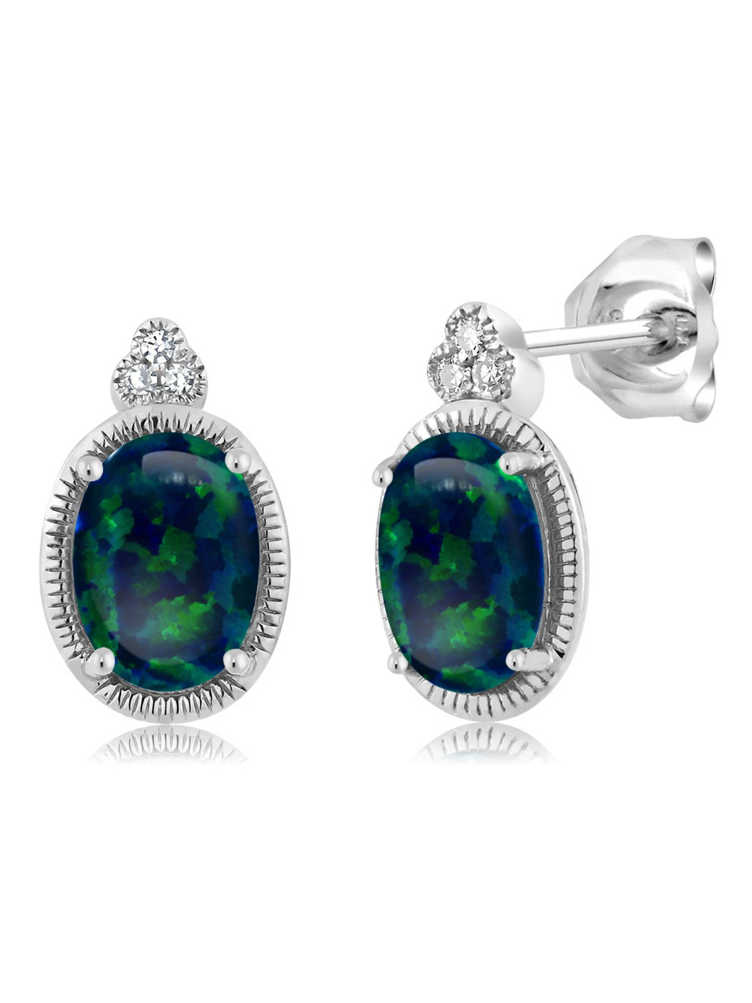 1.00 Ct Cabochon 6x4mm Green Simulated Opal Diamond 10K White Gold Stud Earrings by