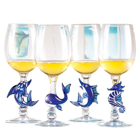 - Under the Sea Decorative Hand-Blown Tropical Wine Glass Set Party Serveware