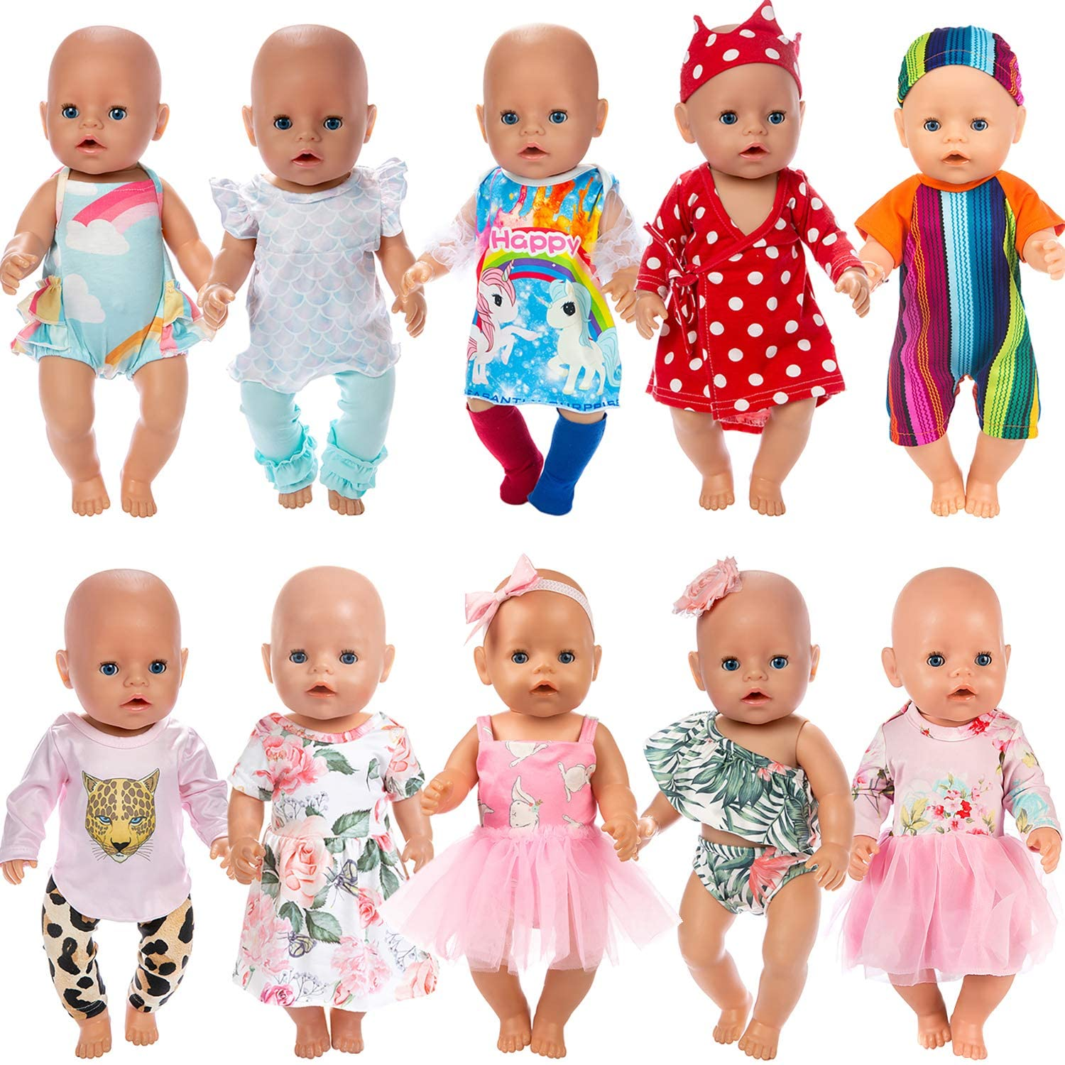 Our Generation Doll Ecore Fun 10 Sets American 18 Inch Doll Clothes and Accessories Doll Outfits Pajamas Dresses Hair Clips and Sunglasses Fit for American Doll My Life Doll