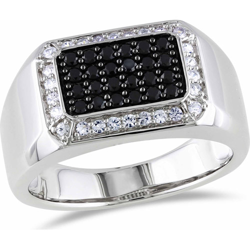 Men's 7/8 Carat T.G.W. Black Spinel and White Sapphire Sterling Silver Fashion Ring