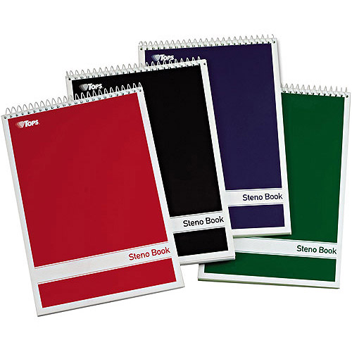 """TOPS Steno Book, Assorted Colored Covers, 6"""" x 9"""", Green Tint Paper, 80 Sheets, 4pc"""