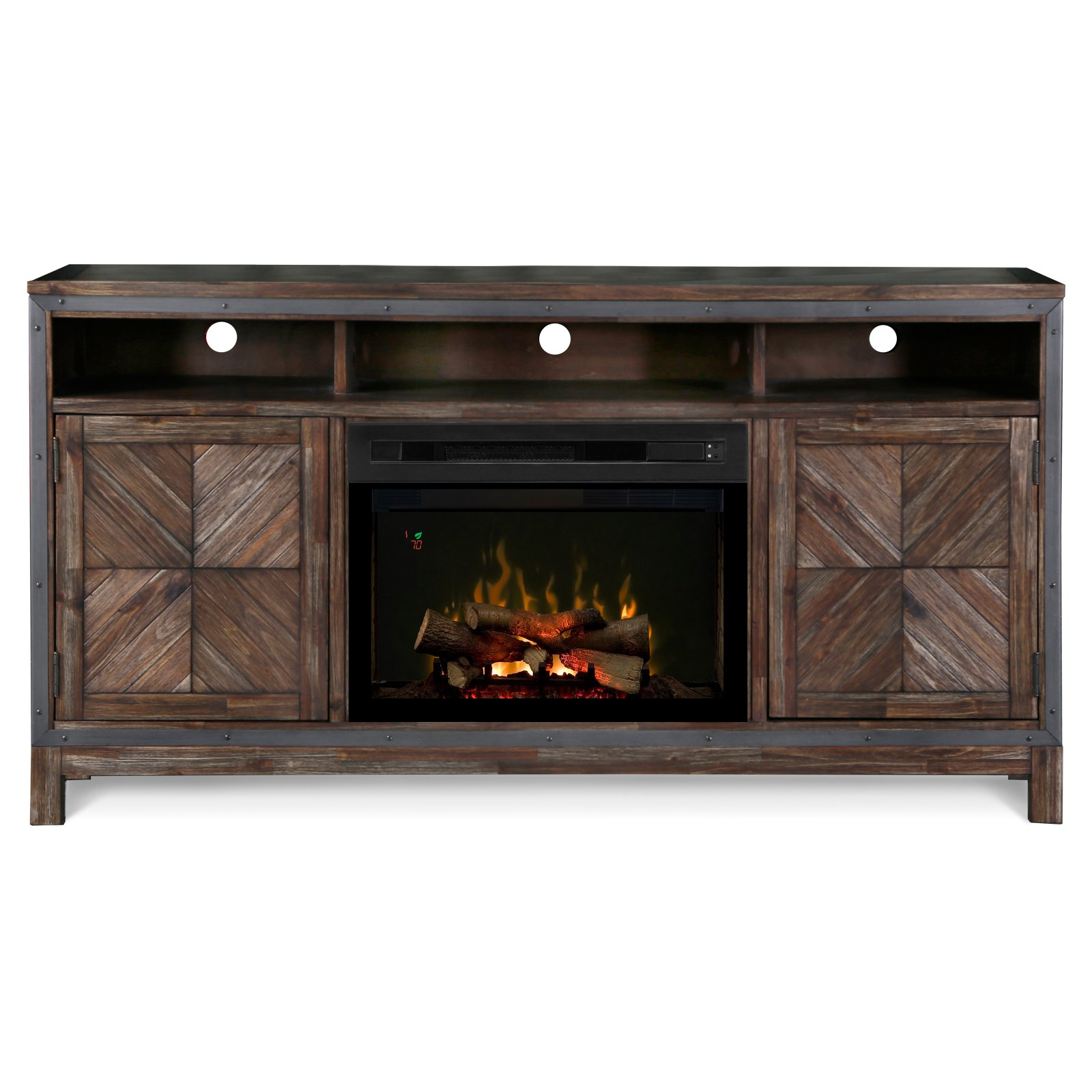 """Dimplex Wyatt Media Console Electric Fireplace With Logs for TVs up to 50"""", Barley Brown"""