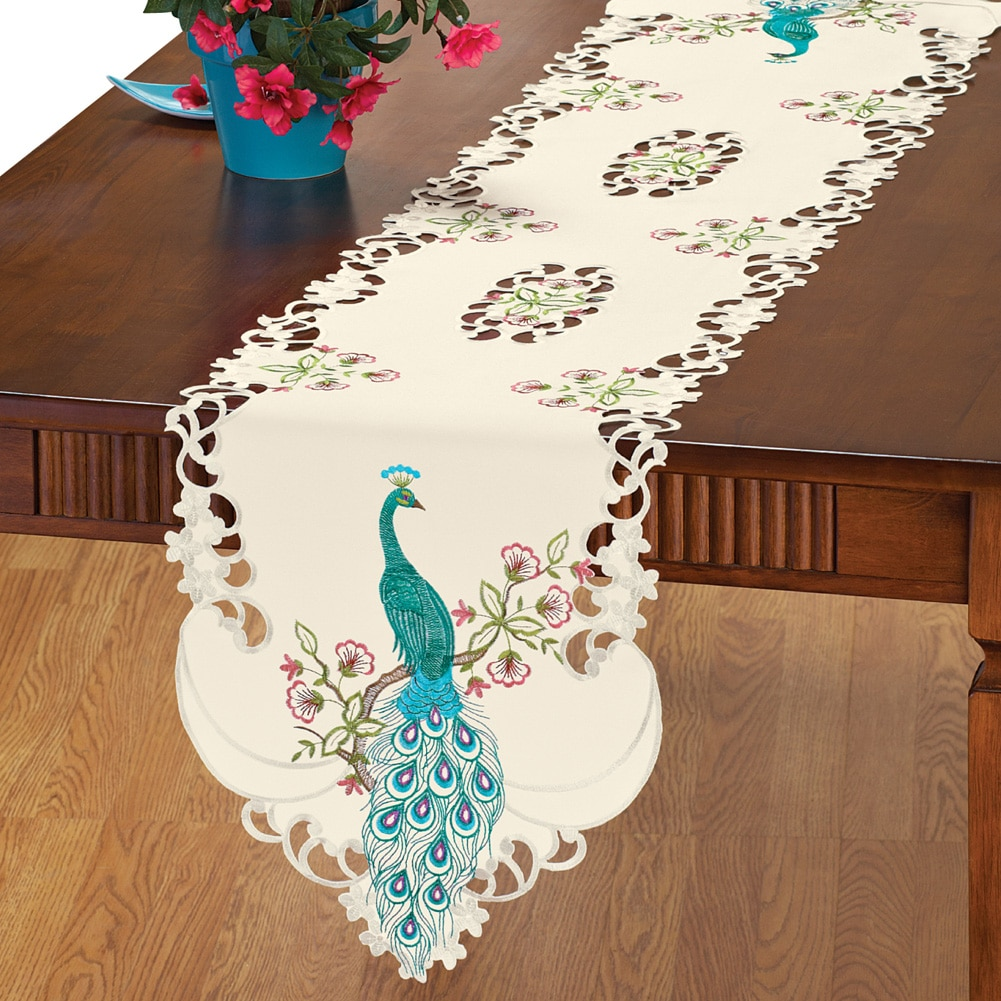 Embroidered Peacock Table Linens, Runner, Multi by Collections Etc
