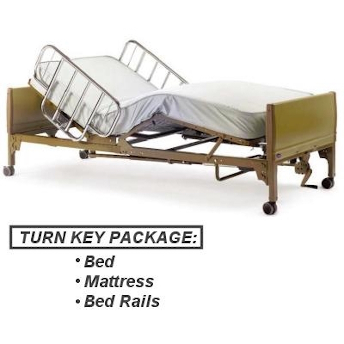 Full Electric Hospital Bed Package (Full Electric Home Hospital Bed Package w/Foam Mattress, Half Rails)
