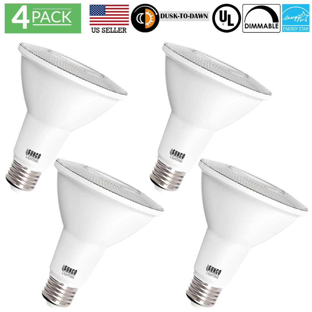 Sunco Lighting 4 Pack Par30 Dusk To Dawn Led Light Bulb 11