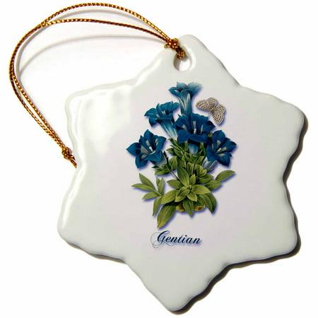 3dRose Gentian, Botanical Print of Large Blue Bell Shaped Flowers , Snowflake Ornament, Porcelain, 3-inch Porcelain Bell Ornament