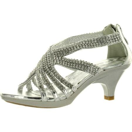 Forever Link Angel 41K Little Girls Rhinestone Heel Platform Dress Sandals