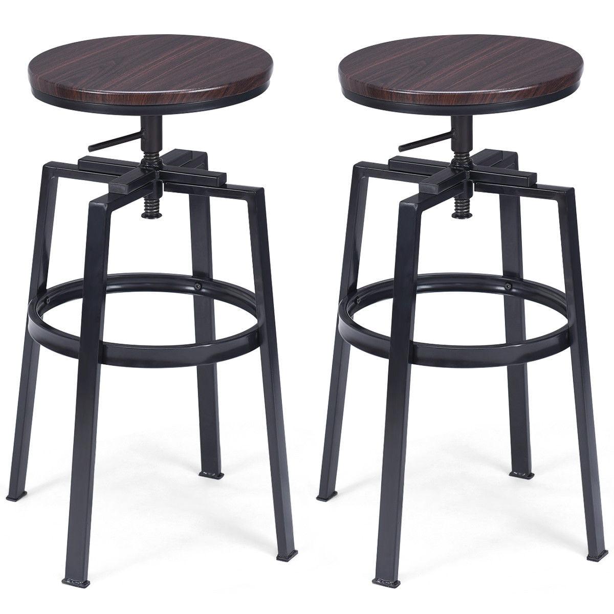 Costway Set of 2 Vintage Bar Stool Adjustable Wood Metal Design Pub Chairs Industrial by Costway