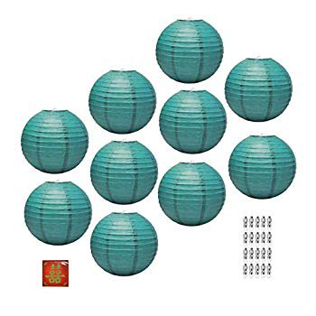 Paper Lantern with Led Light, Chinese Japanese Decorative Round Hanging Lamp (Teal 12 Inches 10 Packs) ()