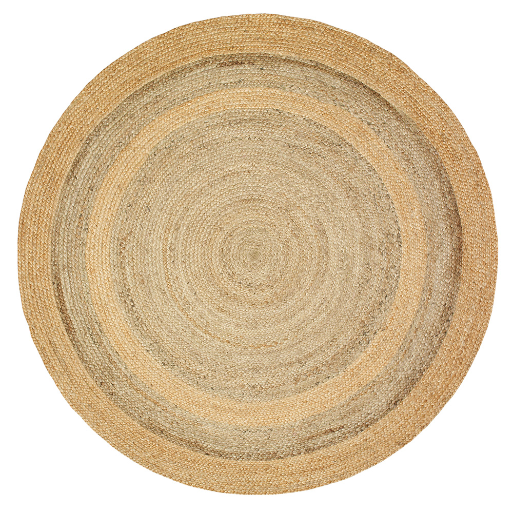 LR Home Natural Jute Natural/Gray Round Indoor Area Rug(4' x 4')