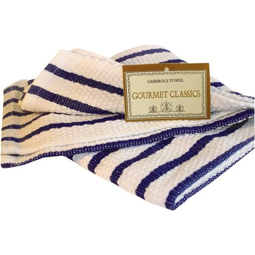 Harold Import Company Oversized Striped Kitchen Towel, Royal Blue and White
