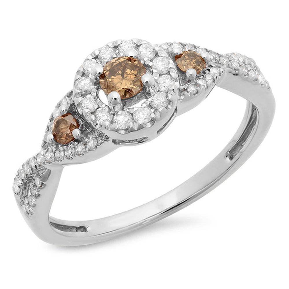 0.60 Carat (ctw) 18K White Gold Round Champagne & White Diamond Ladies Swirl 3 Stone Split Shank Bridal Engagement Ring