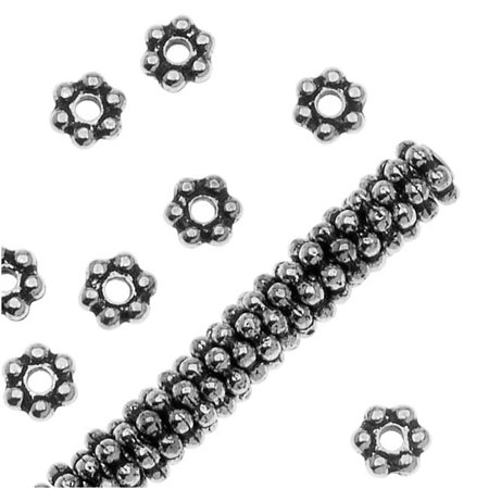 Rhodium Plated Pewter Daisy Spacer Beads 3mm (50)