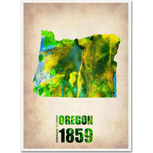 "Trademark Fine Art ""Oregon Watercolor Map"" Canvas Art by Naxart"