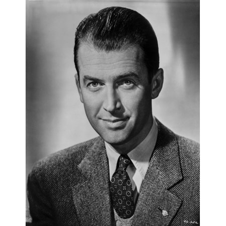 Black And White Tweed (James Stewart Portrait in Grey Tweed Sport Coat and Black Necktie with White Linen Collar Shirt Photo Print)