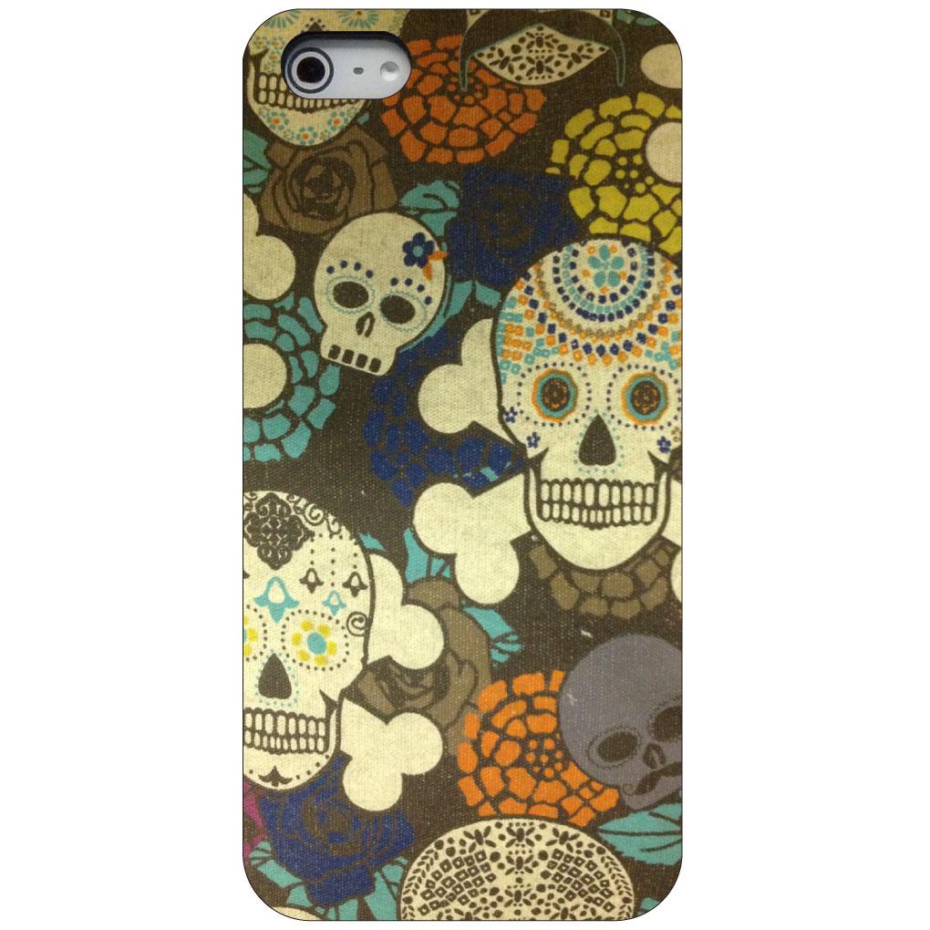 CUSTOM Black Hard Plastic Snap-On Case for Apple iPhone 5 / 5S / SE - Sugar Skulls Green Orange