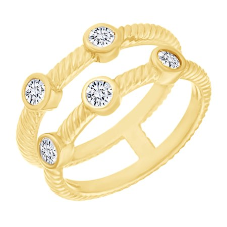 White Cubic Zirconia Double Row Bezel Ring in 14k Yellow Gold Over Sterling Silver (0.5 Cttw) Size - 4